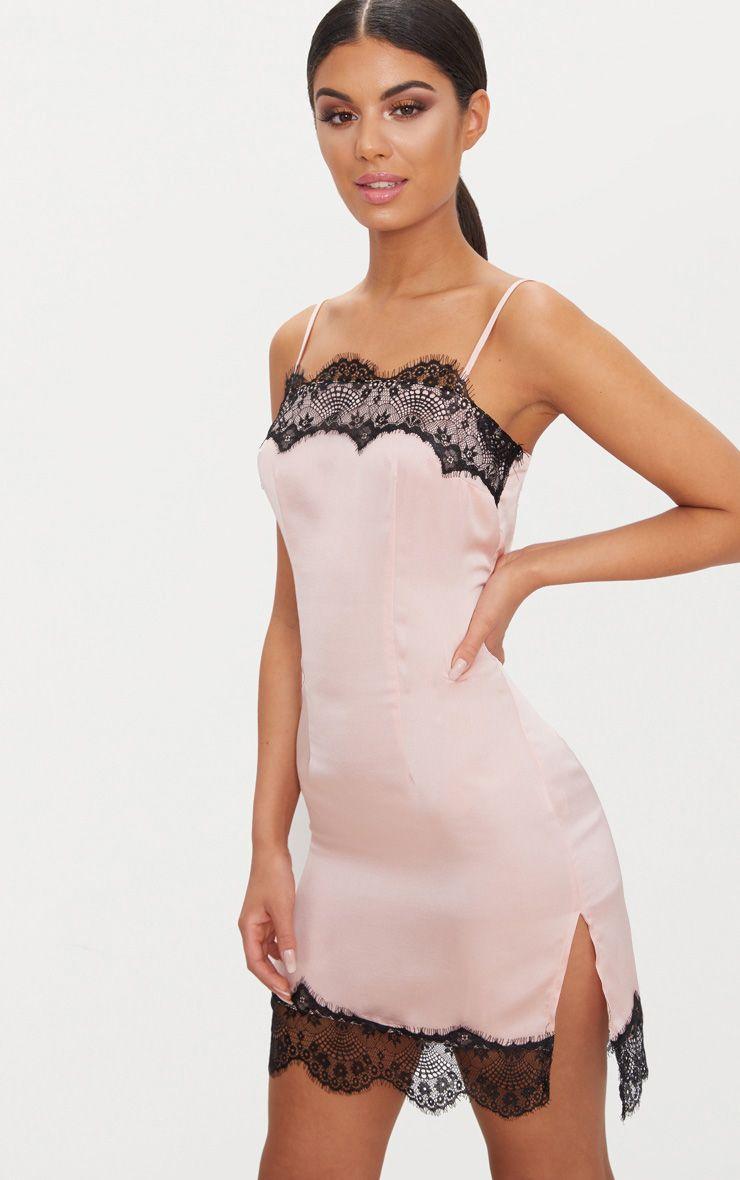 Nude Satin Lace Trim Split Detail Slip Dress