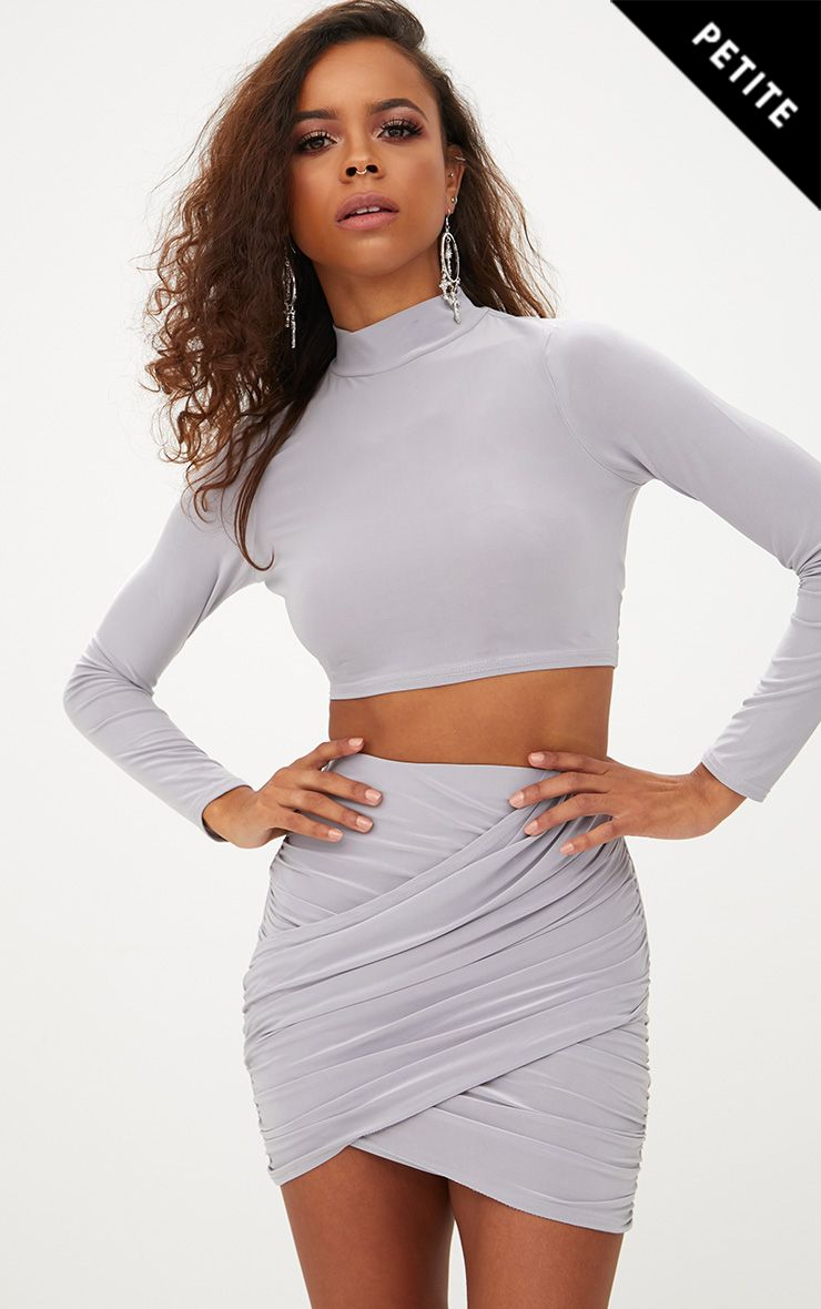 Petite Ice Grey Slinky High Neck Crop Top 1