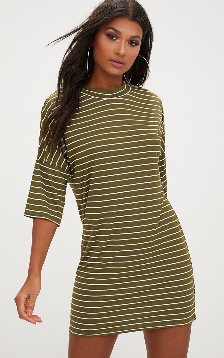 Khaki Striped Oversized T Shirt Dress