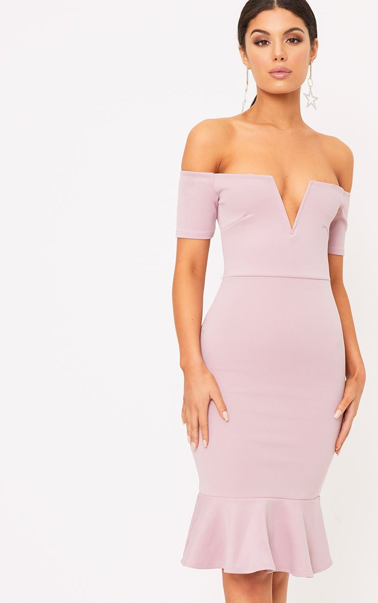 Philippa Mauve V Plunge Frill Midi Dress
