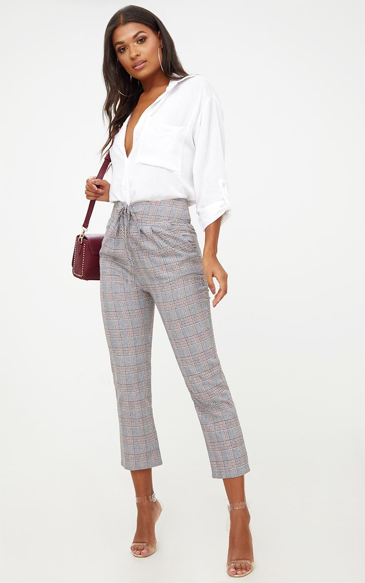 Grey Check Corset Waist Trousers