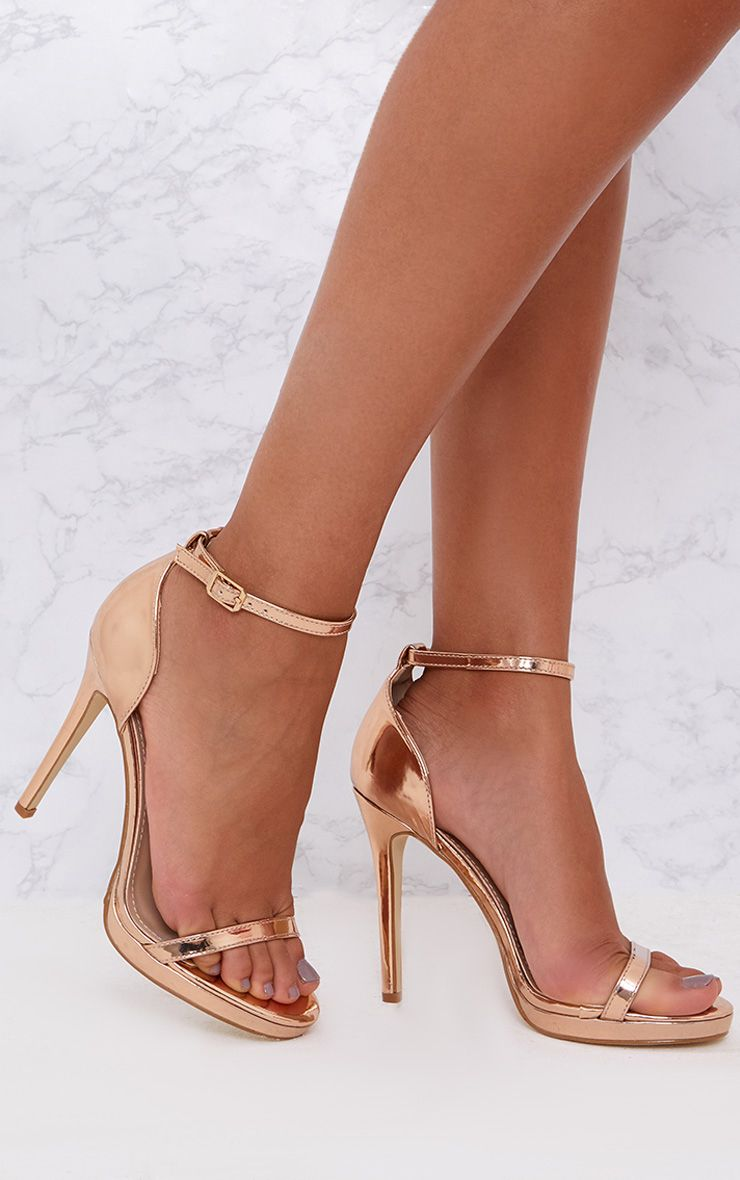 Rose Gold Single Strap Heeled Sandals