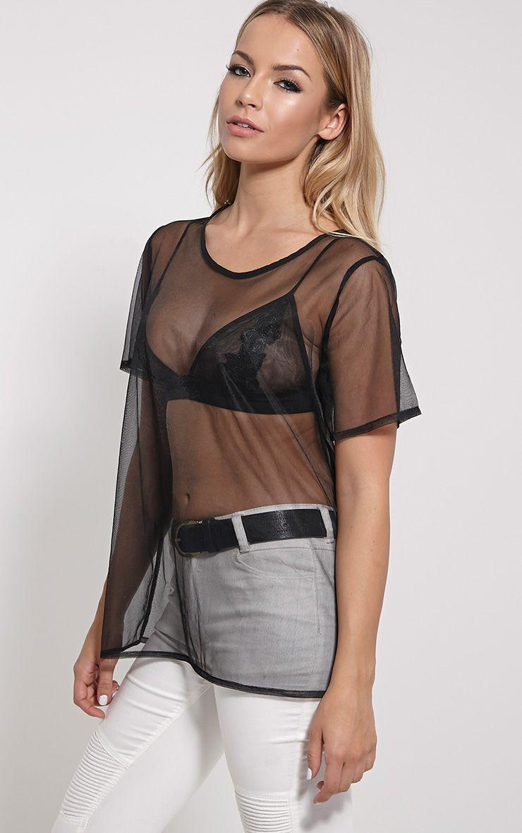 Andria Black Mesh T-Shirt 1