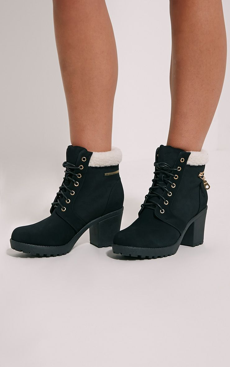 Marian Black Faux Suede Shearling Lace Up Boots 1