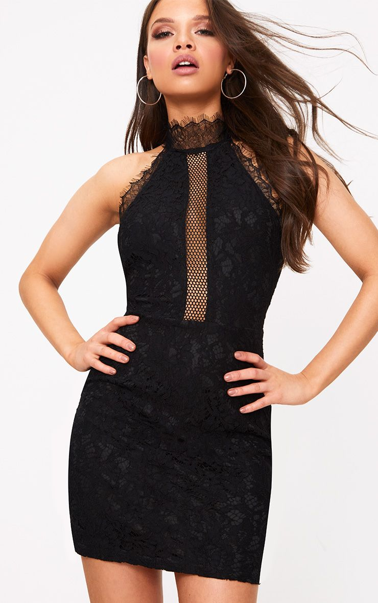 Shelby Black Lace High Neck Bodycon Dress