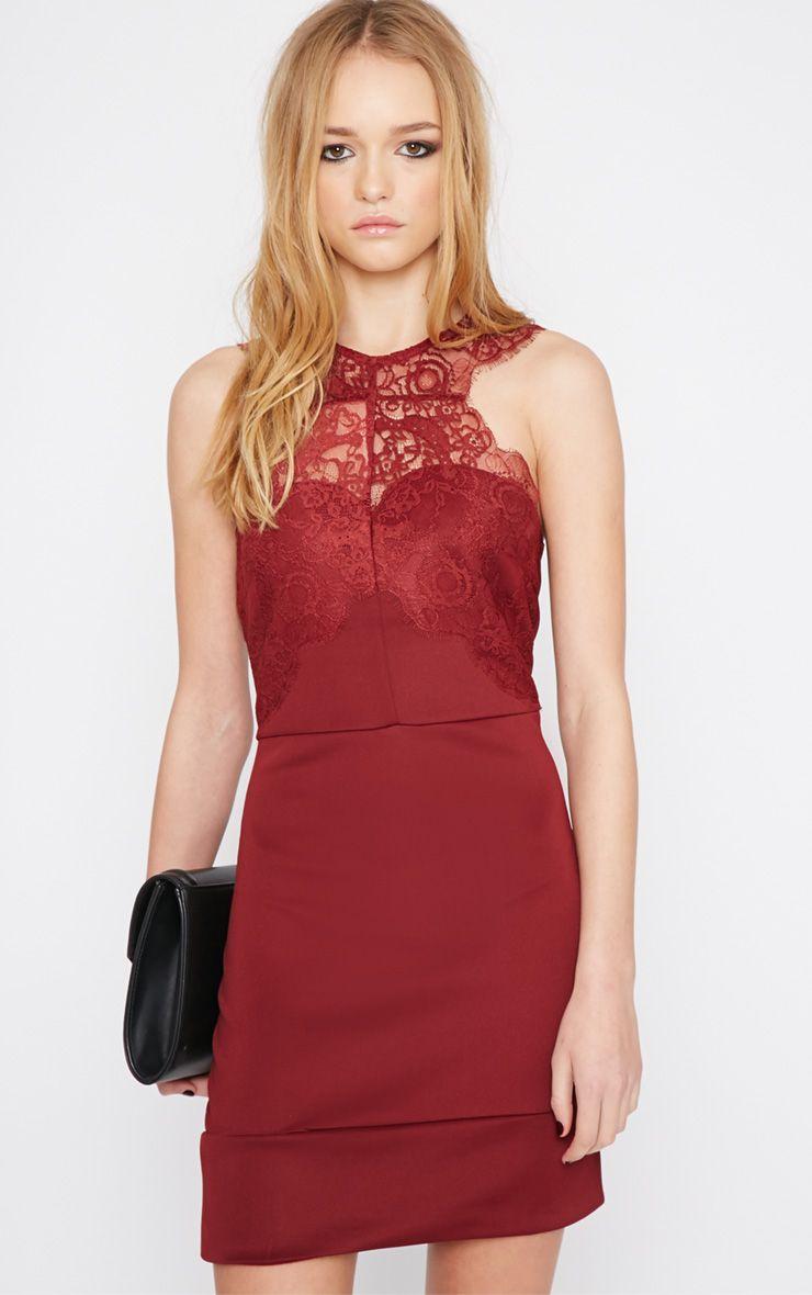 Suzy Burgundy Lace Detail Bodycon Mini Dress 1