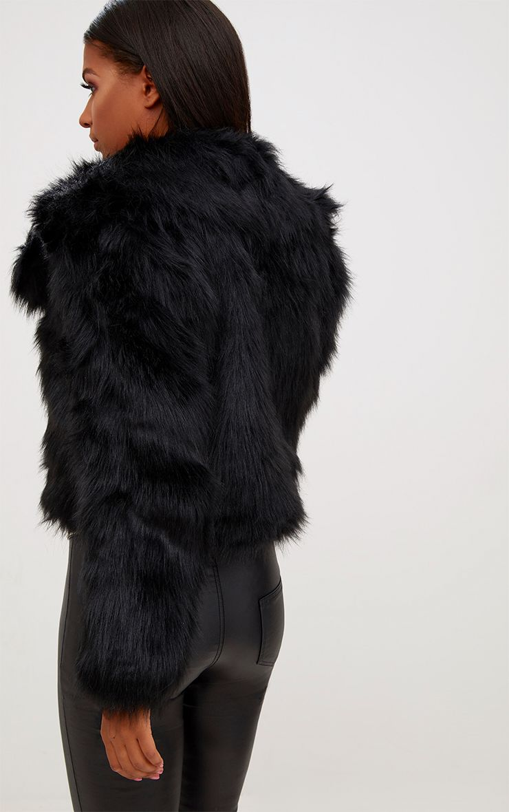 sophiah premium veste en fausse fourrure noire manteaux. Black Bedroom Furniture Sets. Home Design Ideas