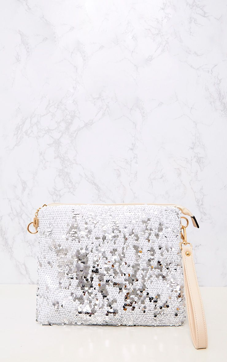 White Oversized Sequin Clutch