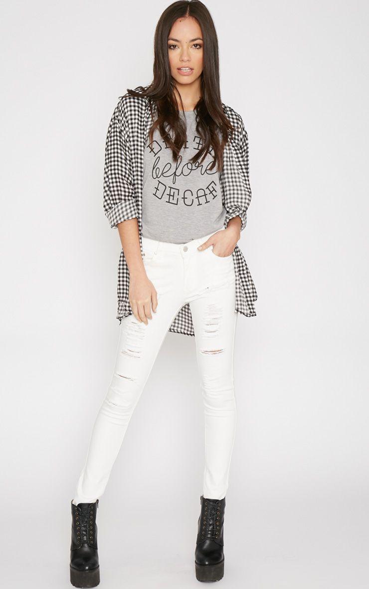 Rena White Ripped Skinny Jean  1