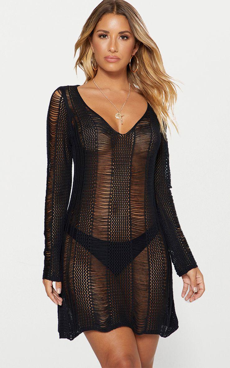 Black Crochet Ladder Dress