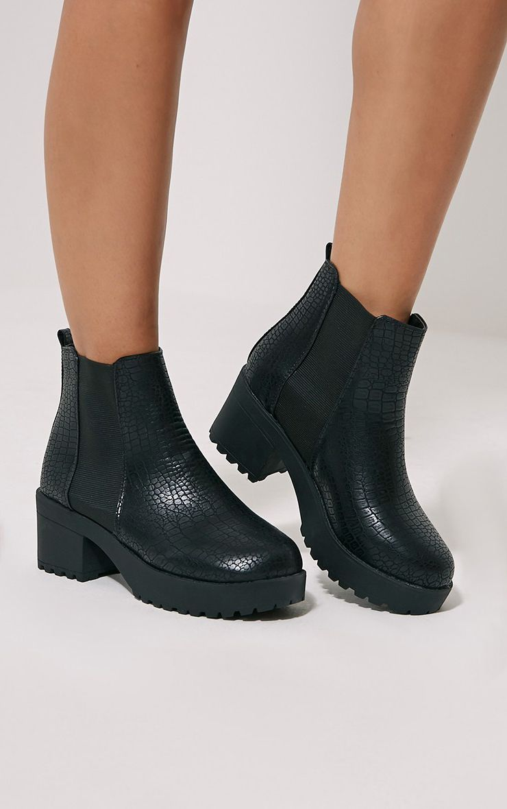Dayton Black Snake Faux Leather Ankle Boots 1