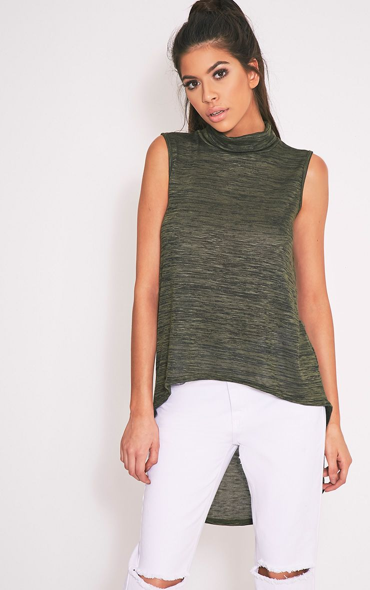 Miae Khaki Fine Knit High Neck Top