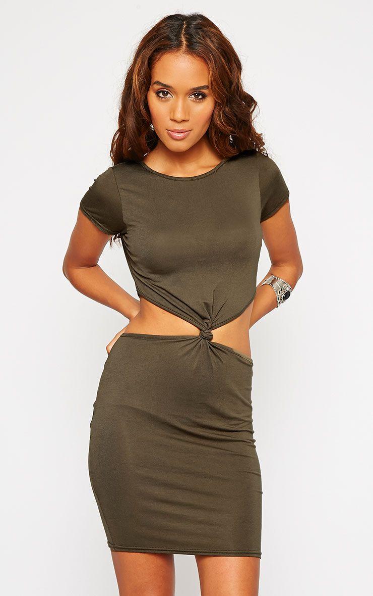 Sukie Khaki Twist Front Mini Dress 1