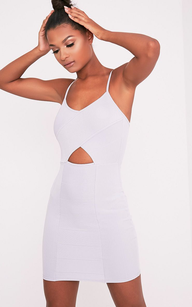 Sasia Ice Grey Cross Front Bandage Mini Dress 1