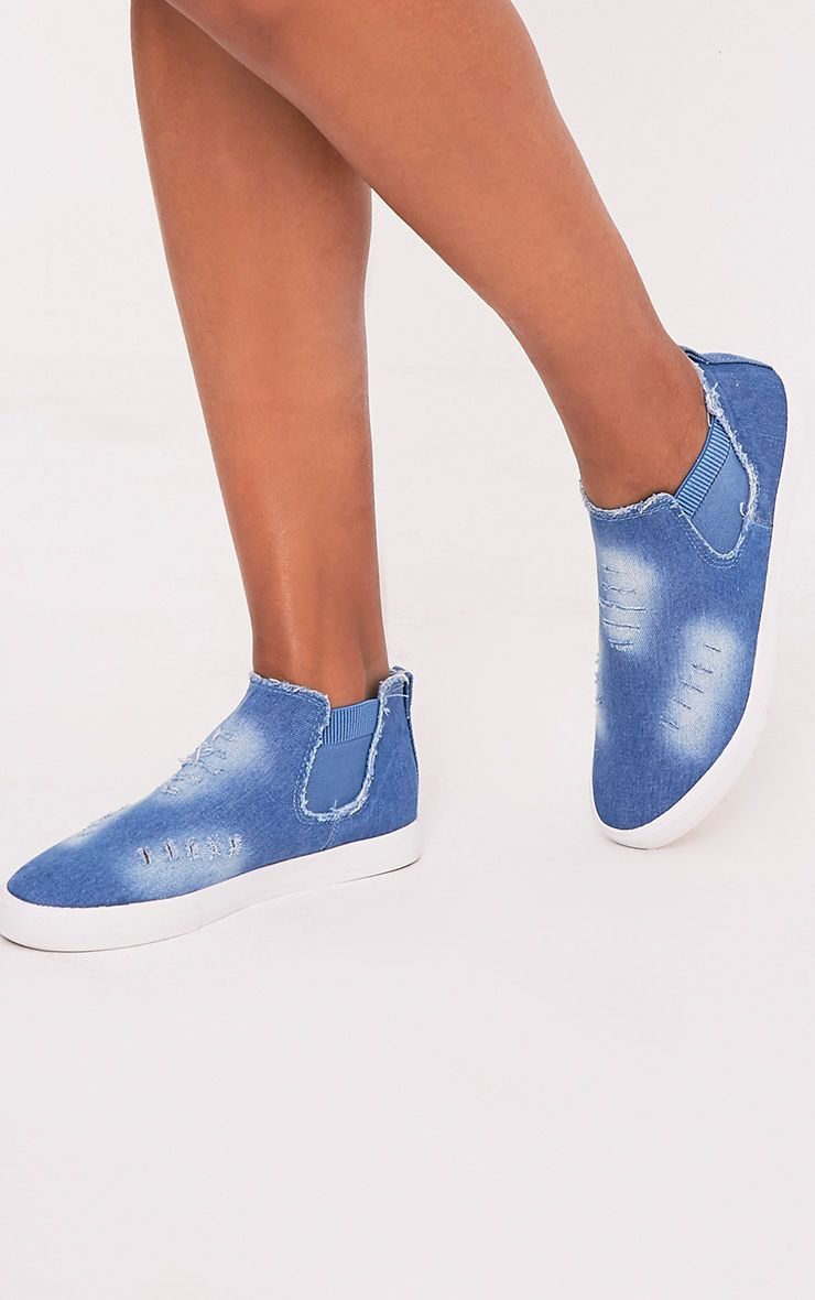 Gia Mid Blue Wash Ripped Denim Slip on Trainers