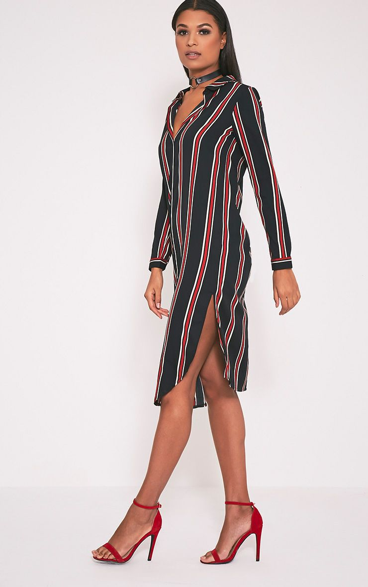 Amarny Black Stripe Longline Shirt Dress 1