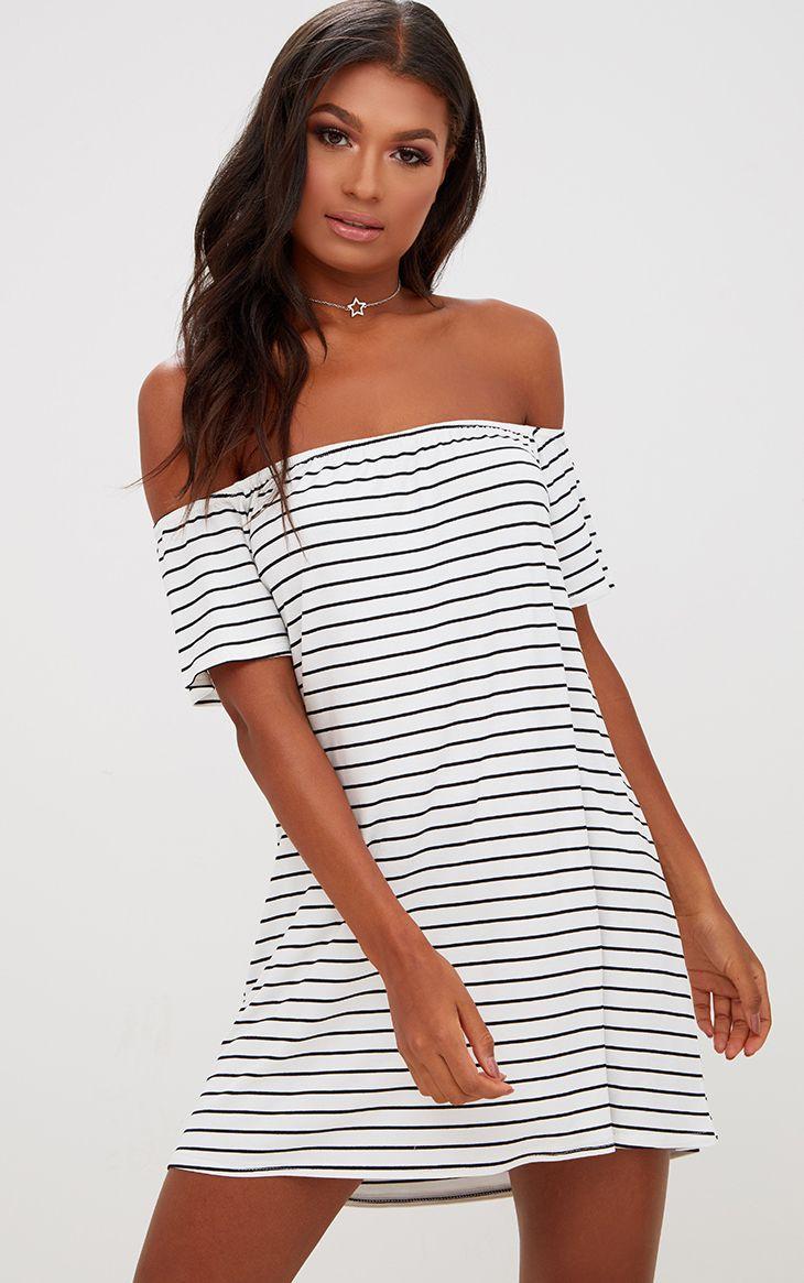 White Stripe Bardot Shift Dress