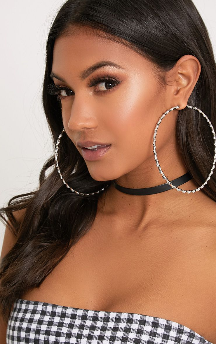 Brynn Silver Big Twisted Metal Hoop Earrings