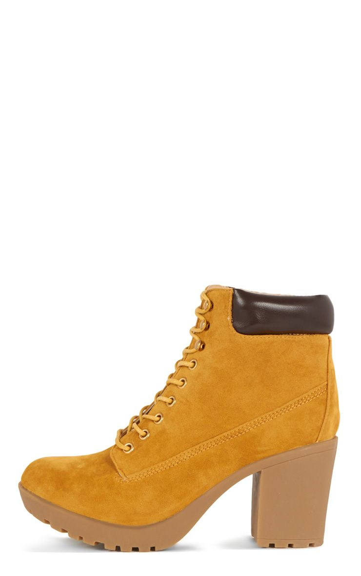 Nuru Honey Suedette Lace Up Boot 1
