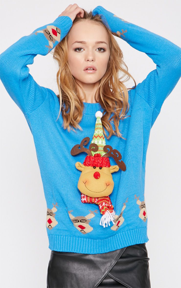 Jelissa Blue 3D Rudolph Head Christmas Jumper 1