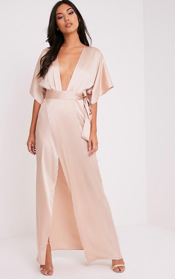 Kiara Champagne Silky Kimono Sleeve Maxi Dress