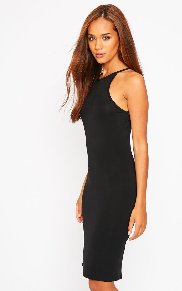 Basic Black Jersey Racer Neck Dress 1