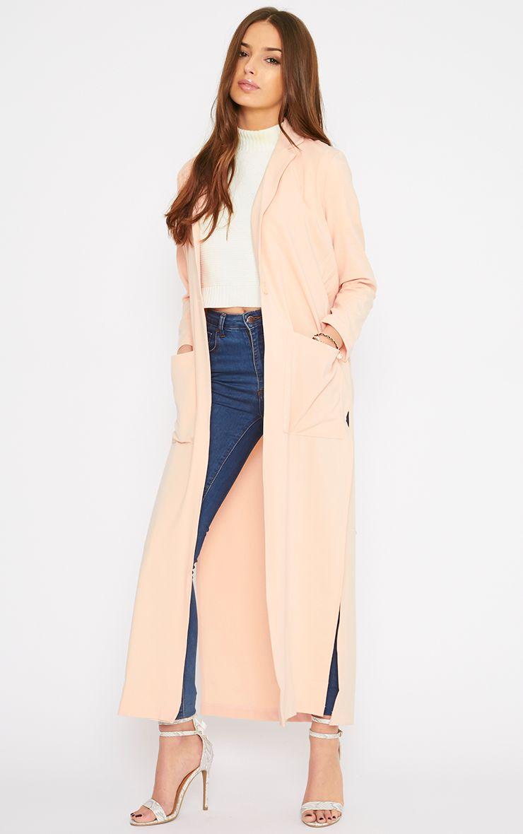 Lois Peach Maxi Duster Coat  1