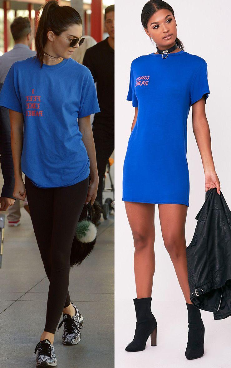 Who's Pablo Slogan Cobalt T-Shirt Dress