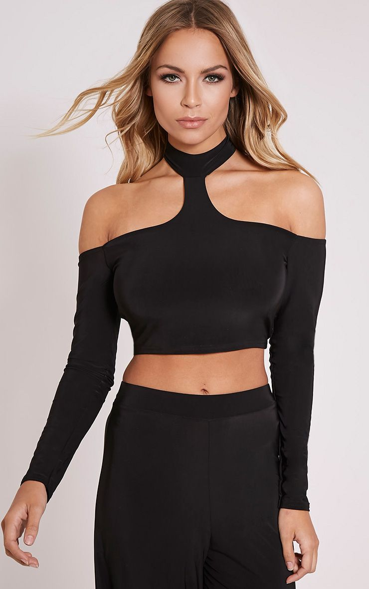 Rosalee Black Cut Out Shoulder Crop Top 1