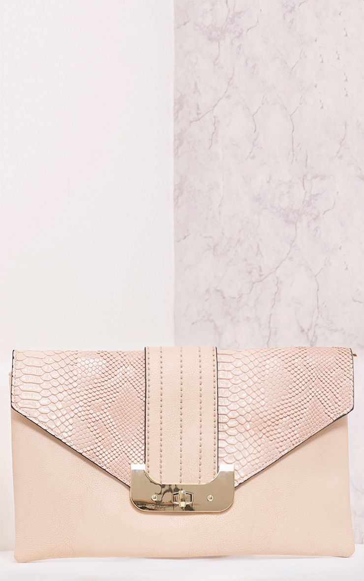 Solae Nude Snake Panel Clutch