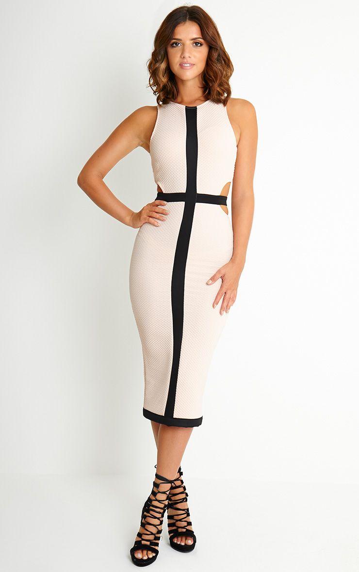 Lyla Pink Textured Cut Out Midi Dress 1
