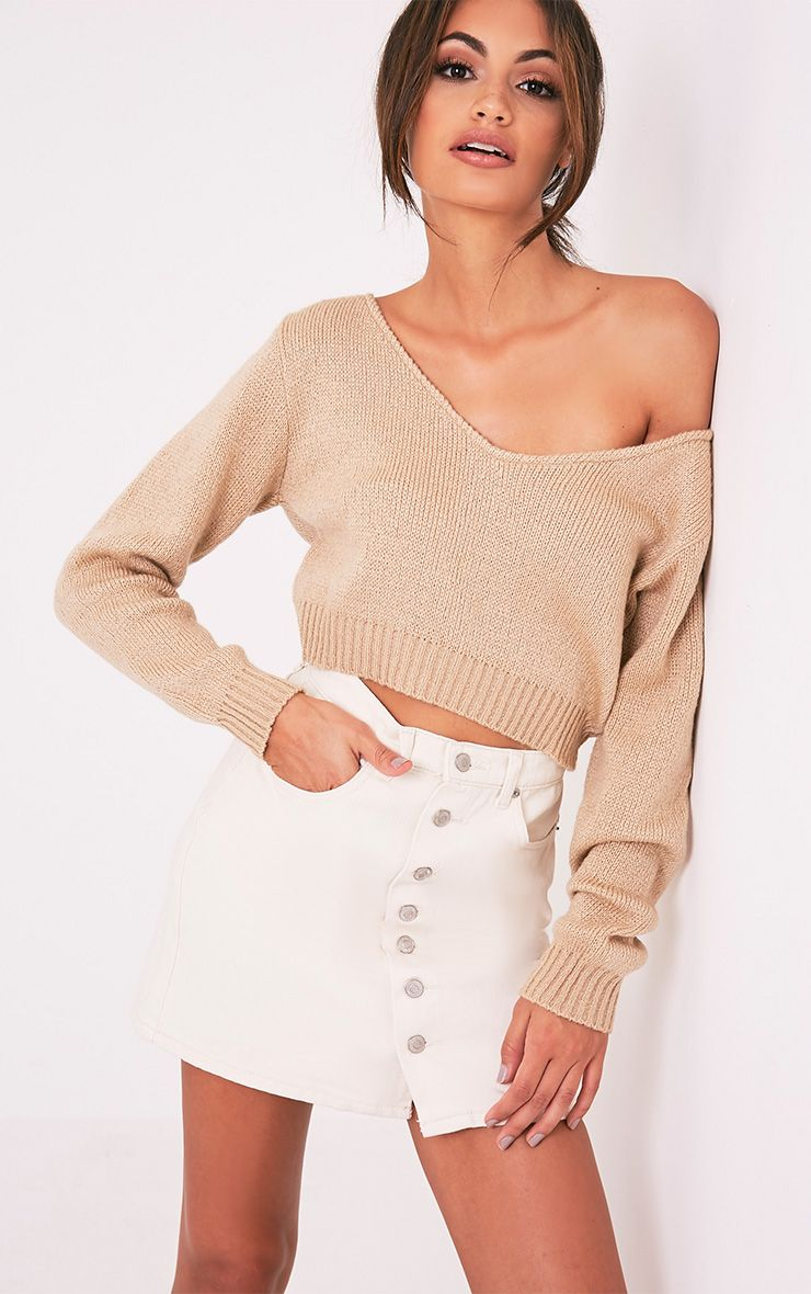 Stone V Neck Off Shoulder Knitted Cropped Jumper 1