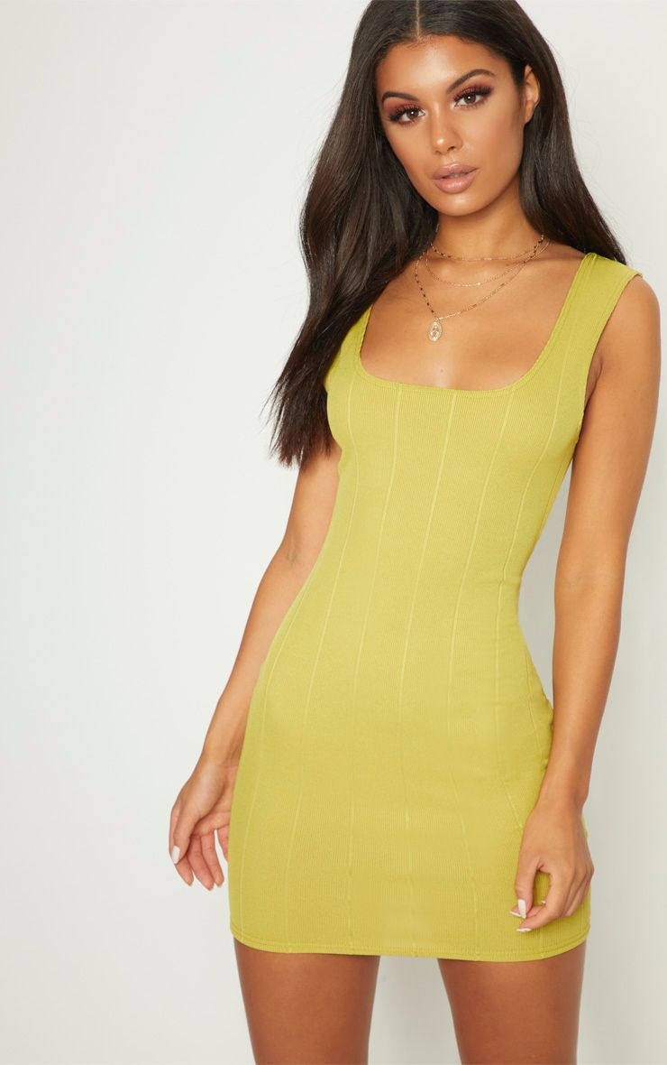 Lime Bandage Square Neck Bodycon Dress