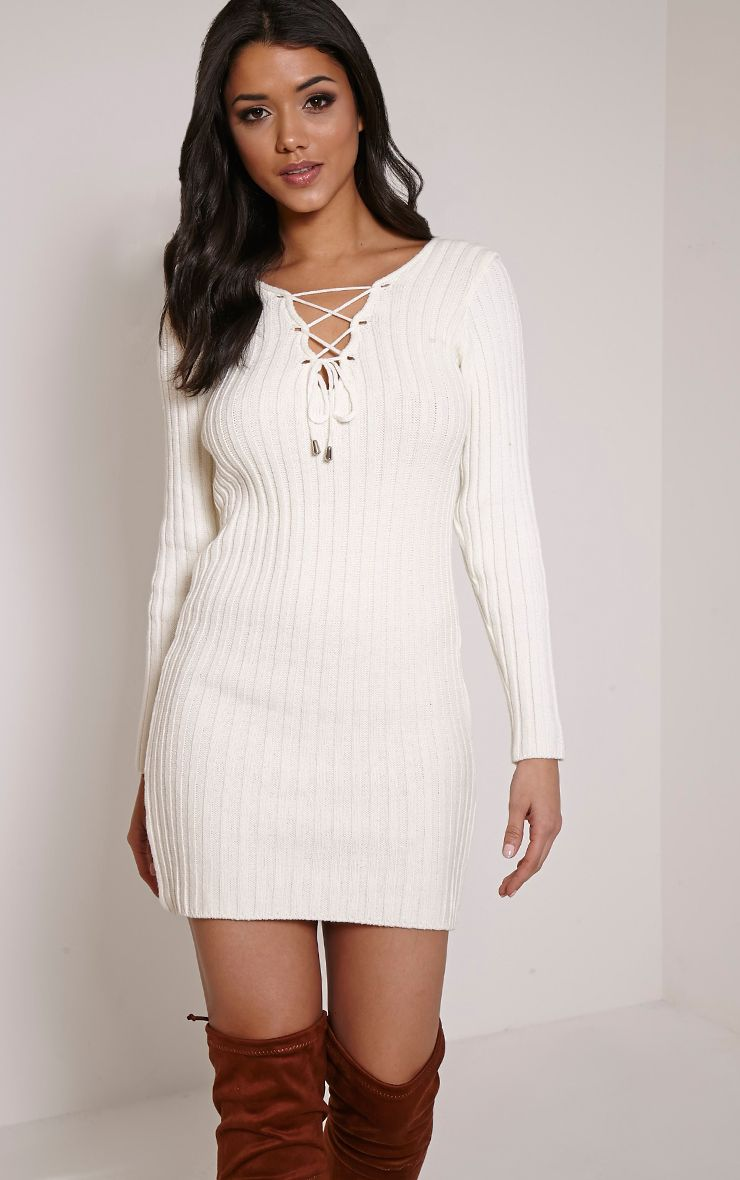 Rondy Cream Lace Up V Mini Dress 1