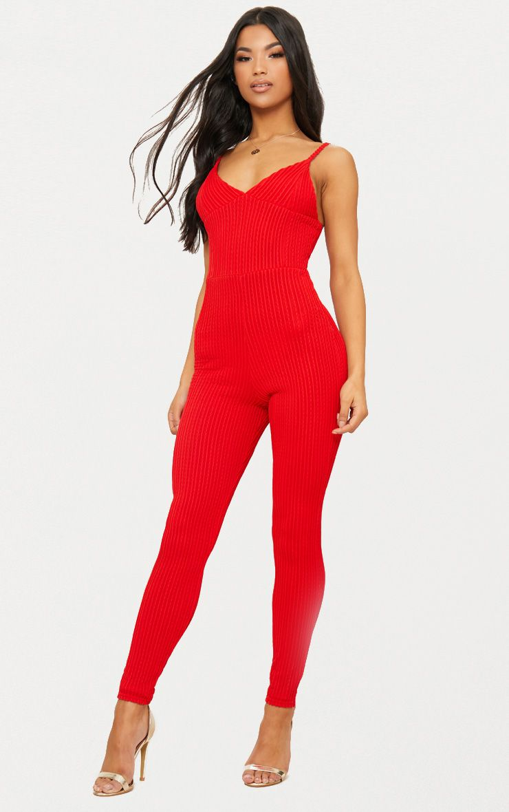 Red Textured Fabric Plunge Jumpsuit