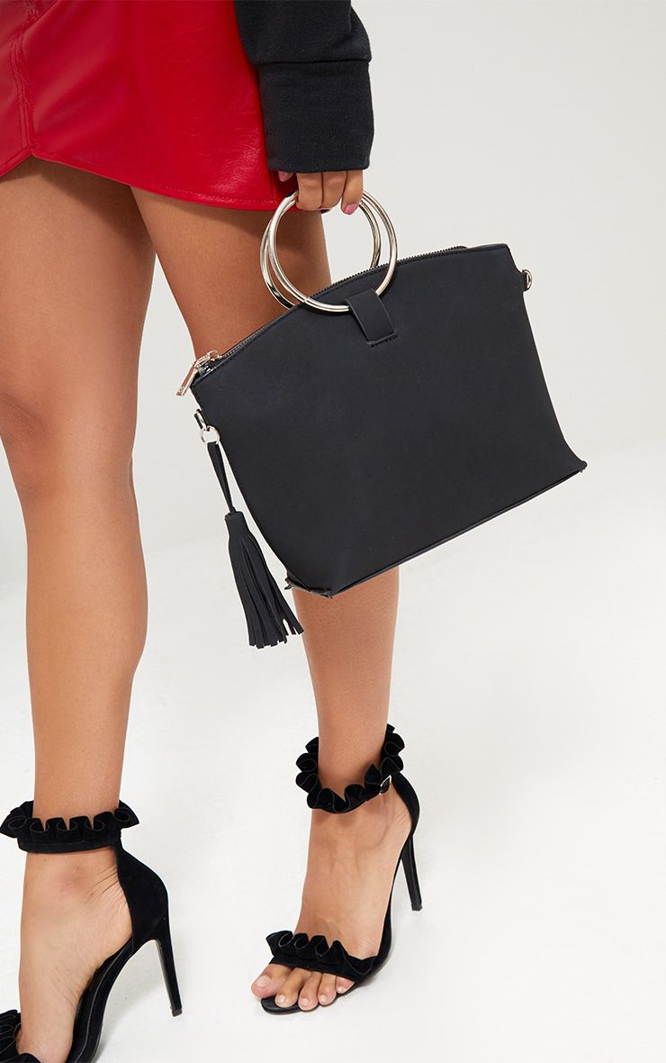 Black Double Ring Handled Textured Bag