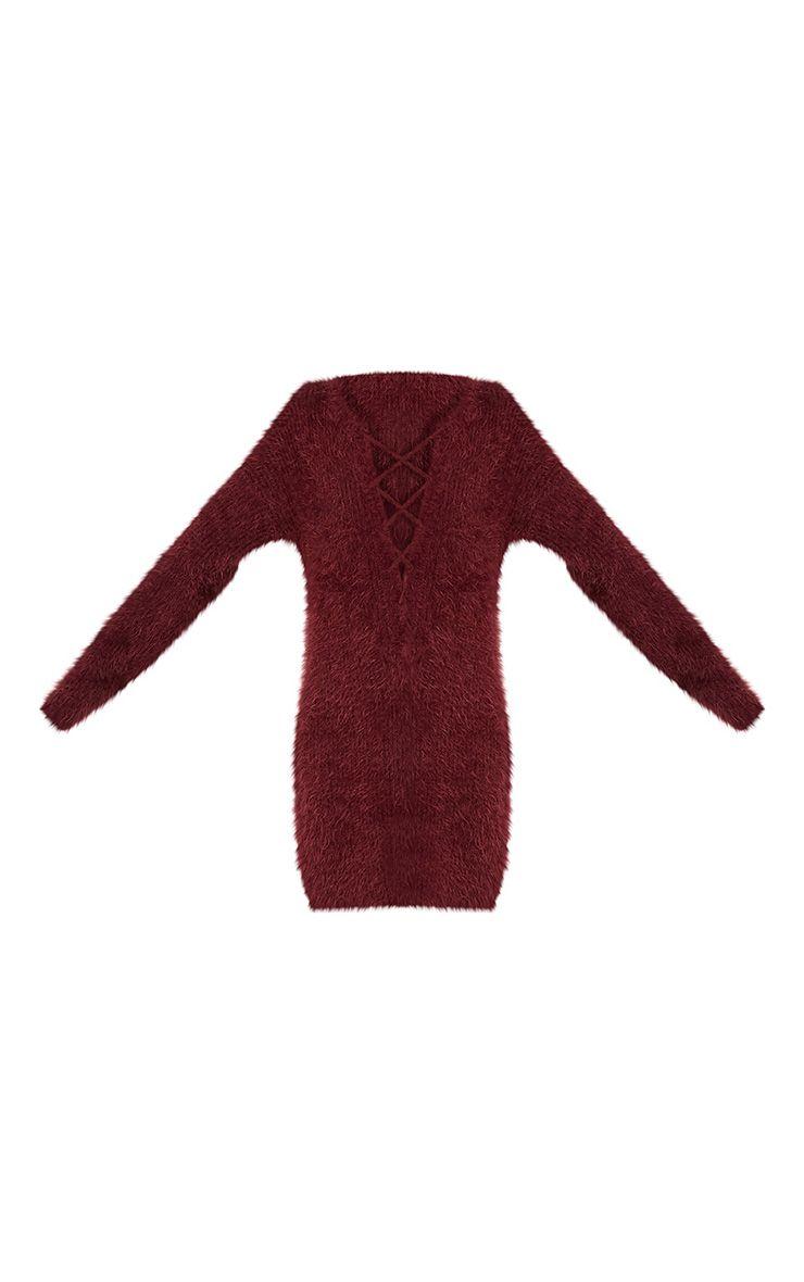 Floraline Burgundy Lace Up Mohair Knit Jumper Dress 3