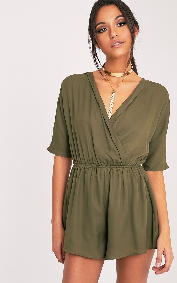 Harlinne Khaki Bobby Wrap Front Playsuit
