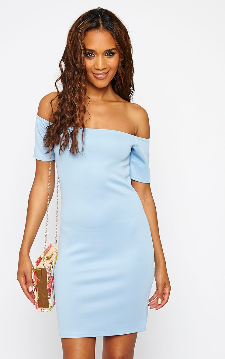 Basic Powder Blue Bardot Bodycon Dress 1