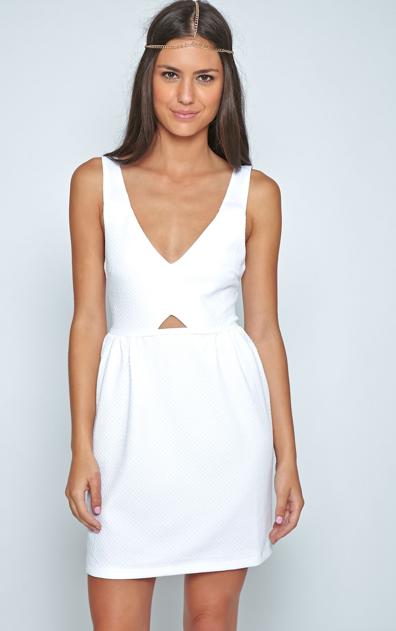 Teri White Textured Cut Out Skater Dress 1