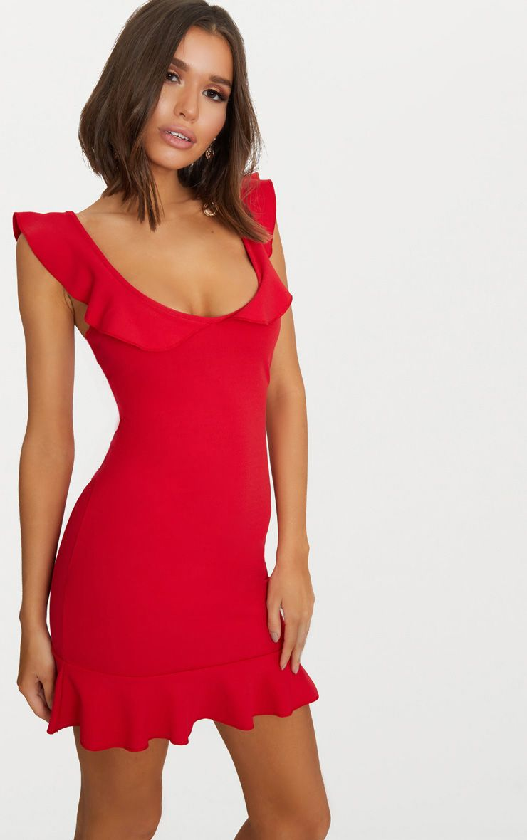 Red Frill Detail Bodycon Dress