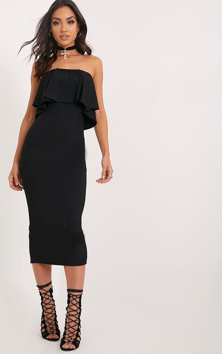 Presley Black Frill Bandeau Midi Dress