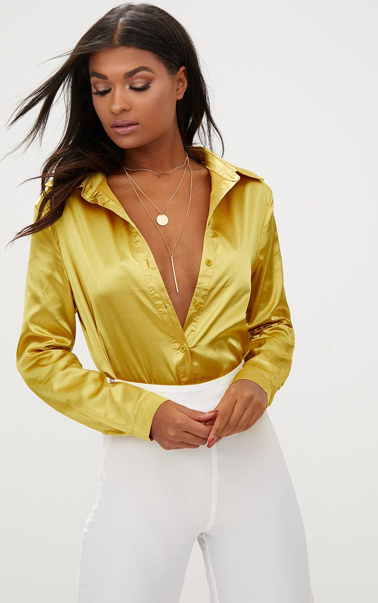 Chartreuse Satin Button Front Shirt