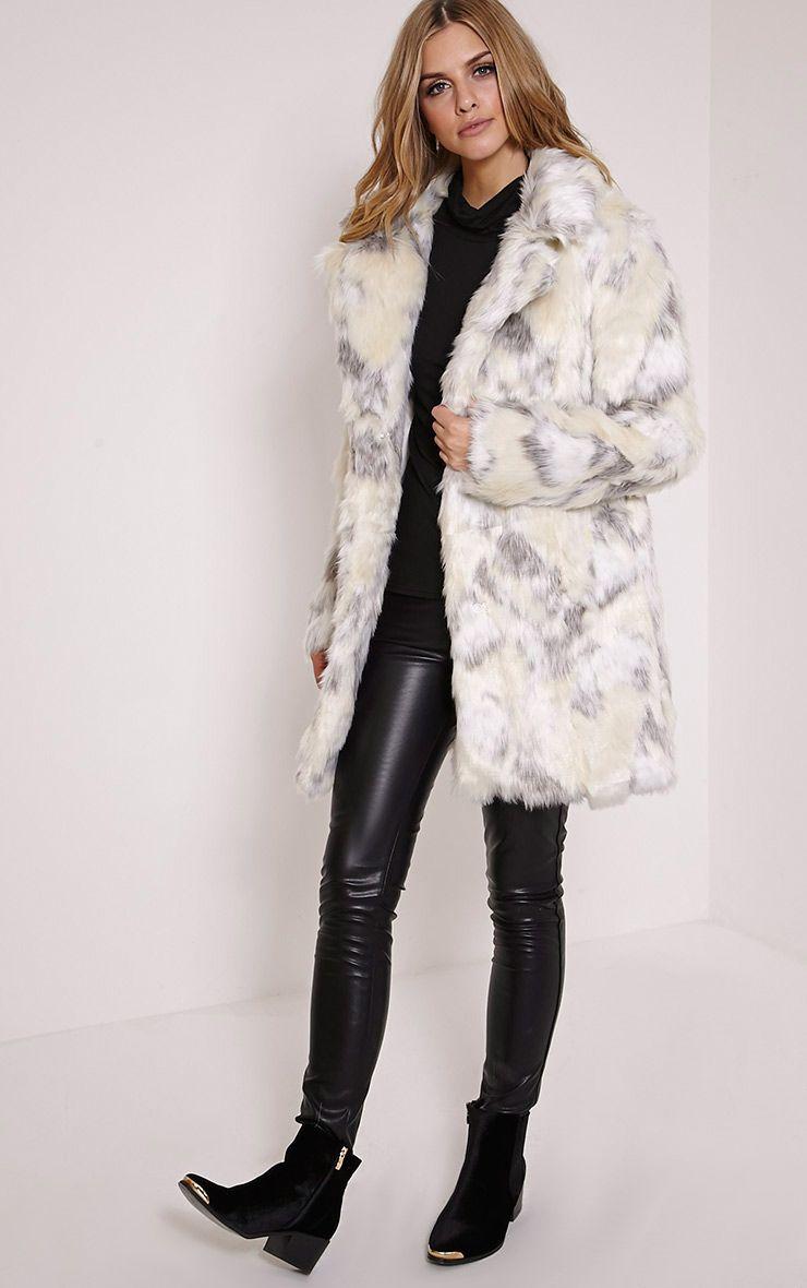Rina Cream Patch Print Faux Fur Coat 1