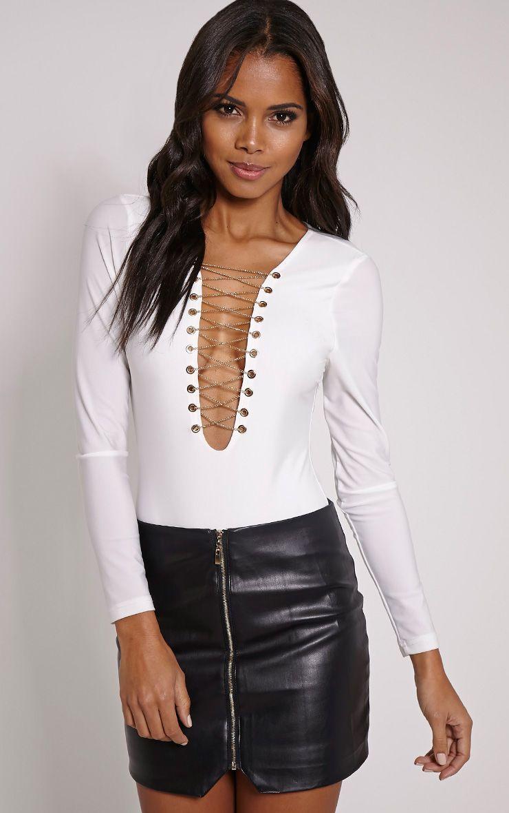 Izzy Cream Chain Lace Up Bodysuit 1