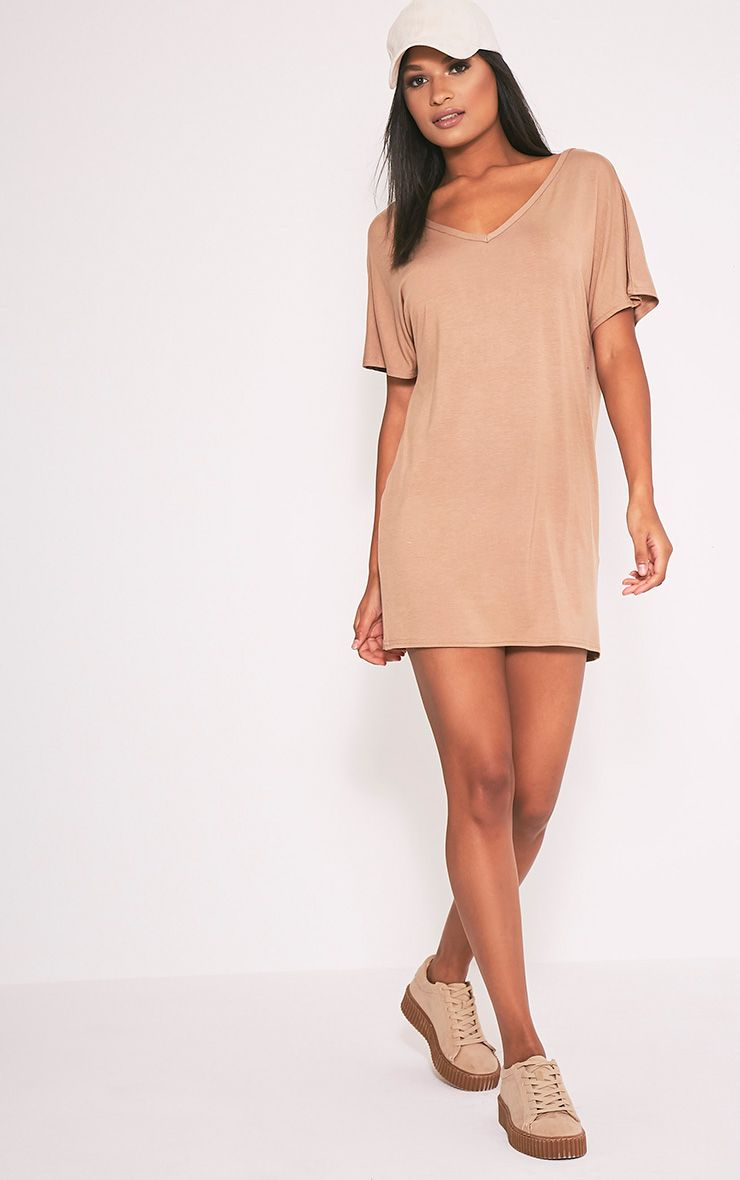 Basic Camel V Neck T Shirt Dress 1