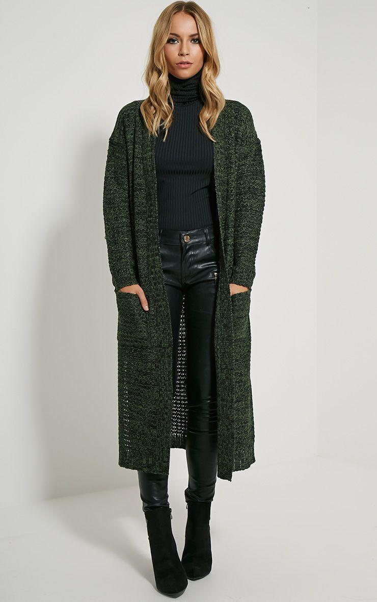 Hadley Khaki Longline Knitted Cardigan 1