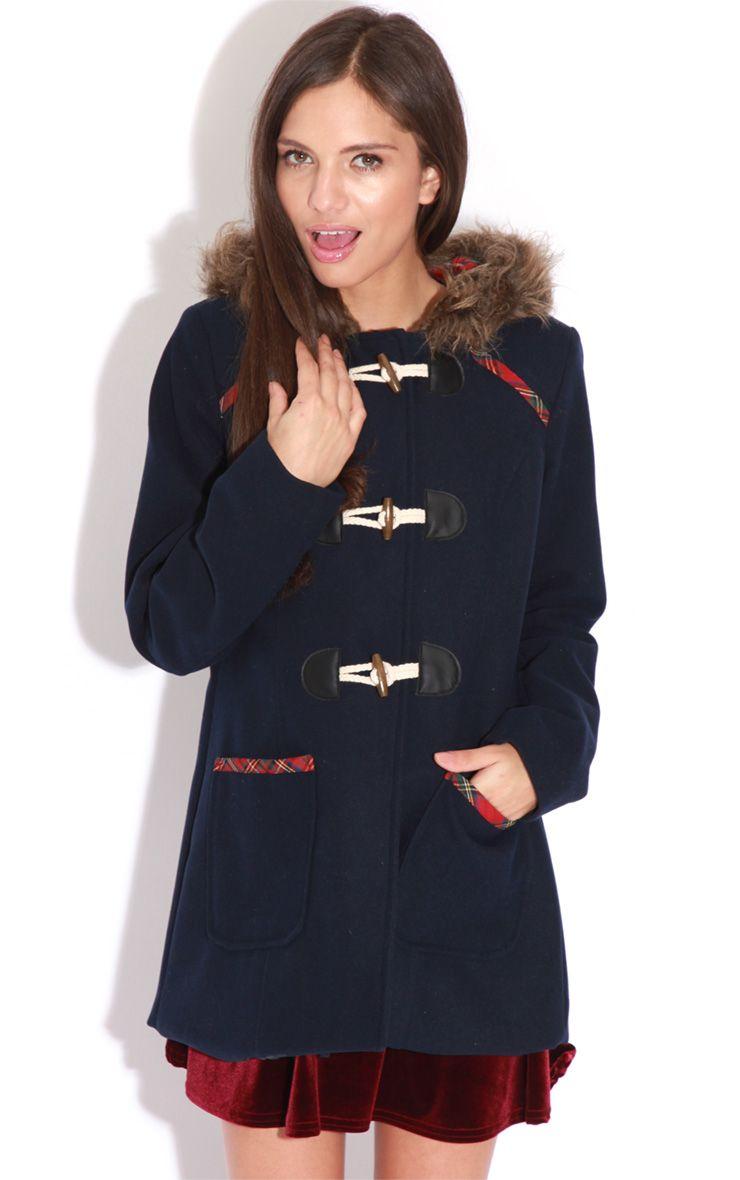 Rachel Navy Tartan Trim Duffle Coat 1