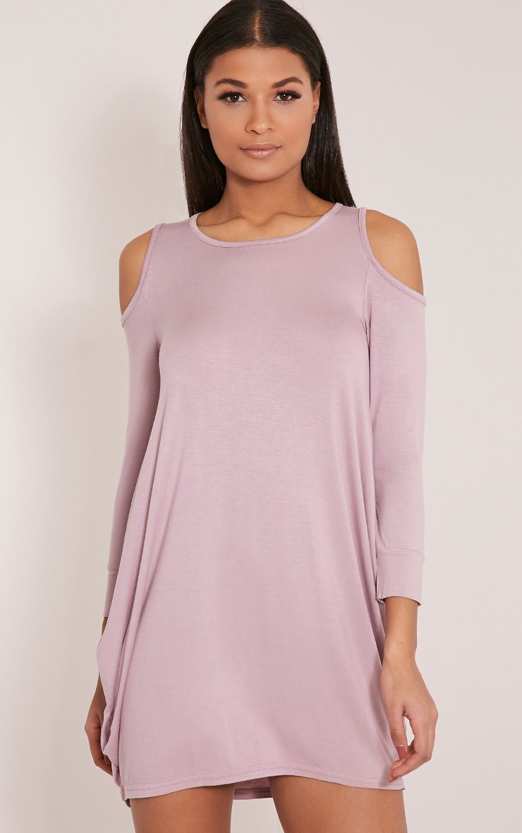 Bronwyn Mauve Cut Out Shoulder Dress 1