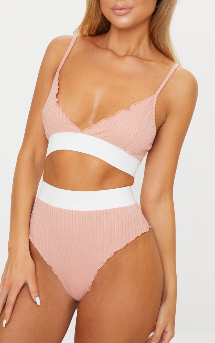 Baby Pink Frill Edge Contrast Ribbed Knicker